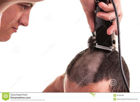 barber cutting hair with clipper stock image image 32499389