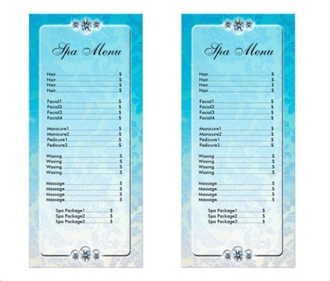 spa menu templates 27 free psd eps documents download