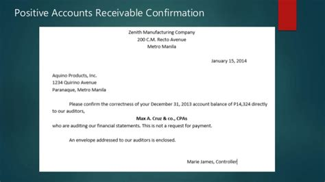 Confirmation Letter Accounts Receivable Relationship Of Types Of Evidence To Audit Objectives