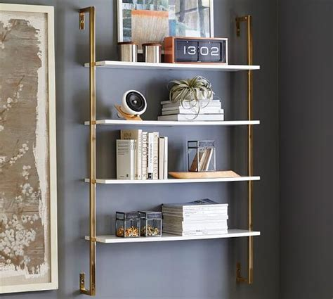 White And Brass Olivia Wall Mounted Shelves Wall Mounting Shelves