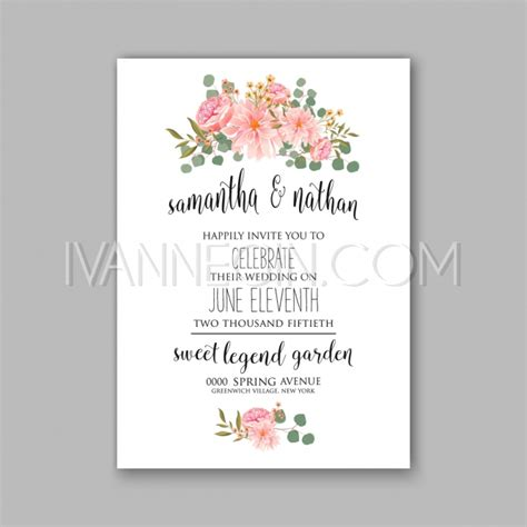 peony design invitation jakarta peony and succulents wedding invitation card unique