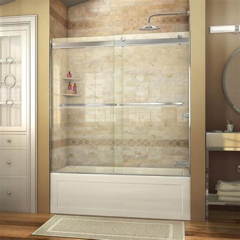 frameless shower doors for bathtub shop dreamline essence 56 in to 60 in w frameless chrome