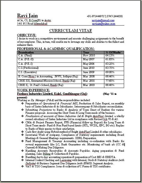 resume format download for ca articleship resume pdf download