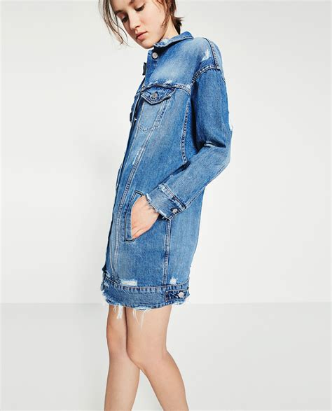 Zara Denim zara longline denim jacket in blue lyst