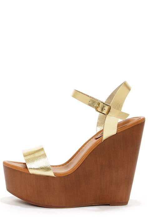 Sandal Platform Wedges Slop Gold platform wedges gold shoes wedges sandals 30 00