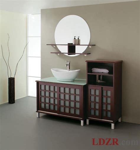 Curved Bathroom Furniture Apartments Stunning Wooden Bathroom Storage Cabinets With Curved Sink And Circle Mirror