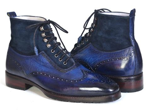 mens blue boots paul parkman s wingtip boots blue suede leather