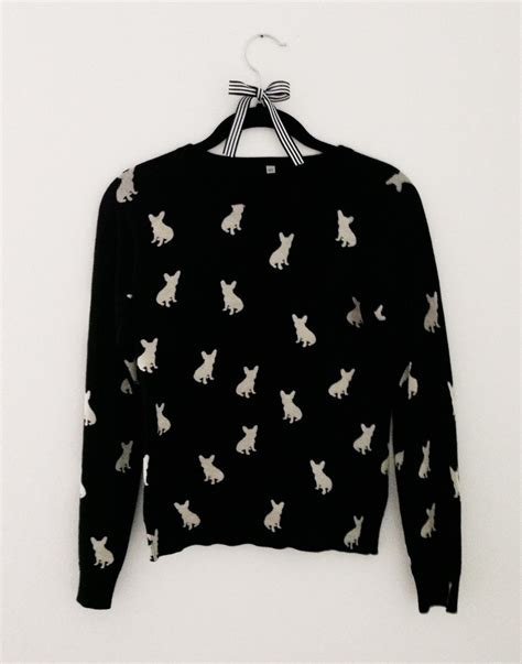 Nsweater Buldog bulldog sweater black with white frenchies by pipolli