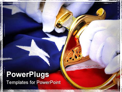 Powerpoint Template White Gloved Hands Pulling A Sword From A Golden Scabbard On A Flag 30524 Marine Corps Powerpoint Templates
