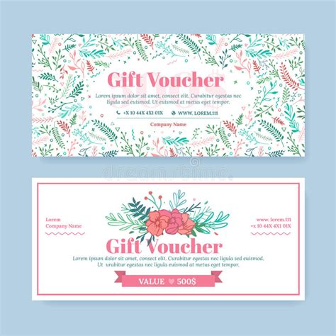 floral gift card template gift certificate with delicate painted flowers in boho