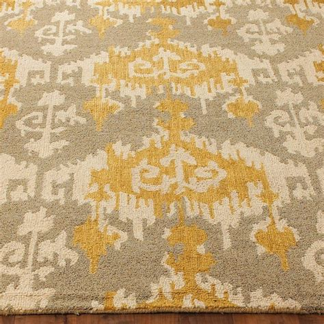 hooked gray and gold ikat rug l shades by