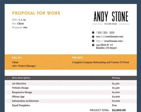 proposal invoice template free invoice