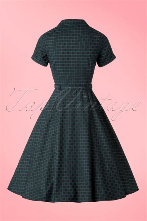 check swing 50s caterina chaise check swing dress in navy and green