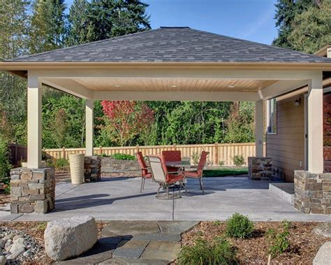 Love the stone design at the base of the patio cover