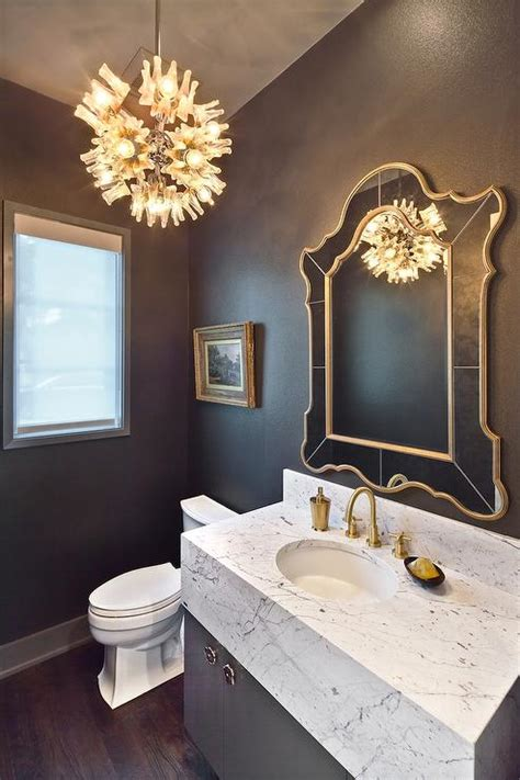 gray powder room gray and gold powder room with marble vanity