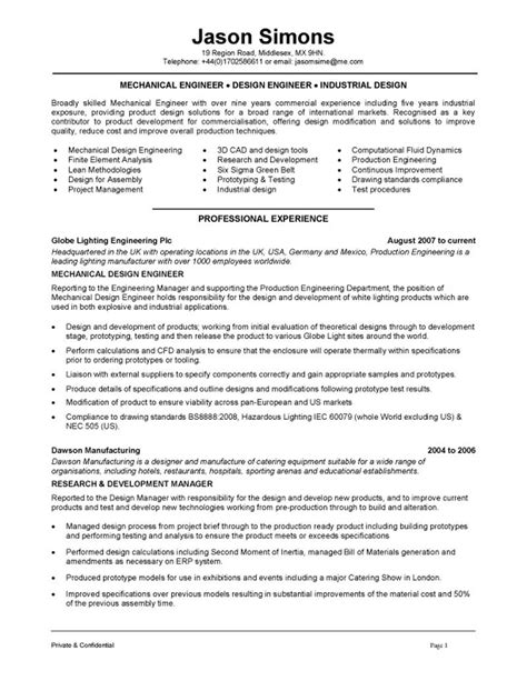 resume writing for engineers mechanical engineering resume exles search