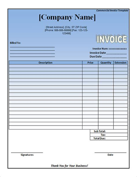 commercial invoice template word