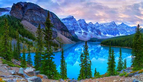 banff national park earth beautiful moraine lake in banff national park canada 4k