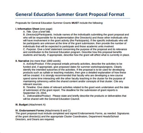 Education Grant Template Grant Template 12 Free Documents In