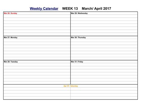 printable weekly calendar 2017 april 2017 calendar printable holidays word pdf
