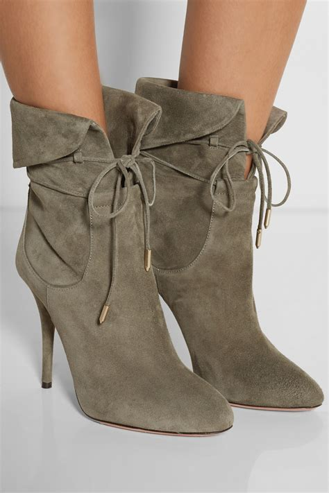 palermo oxford shoes lyst aquazzura palermo suede ankle boots in green