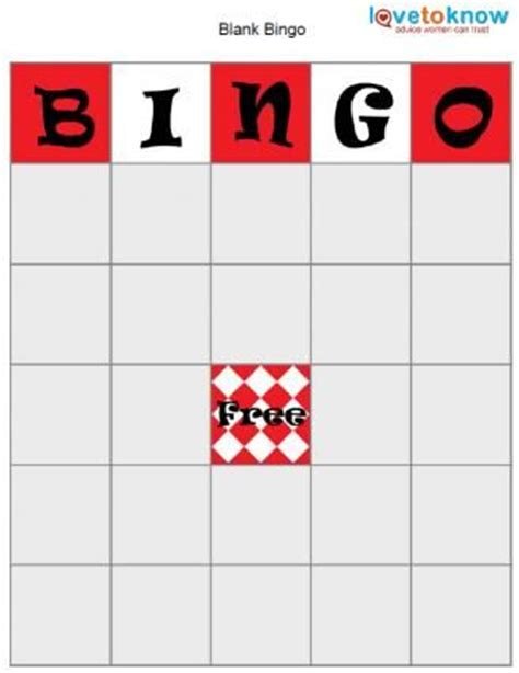 blank bingo card educational pinterest