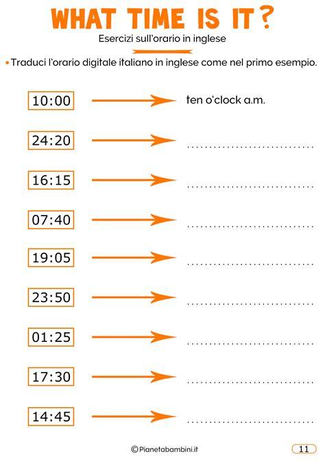 ingresso traduzione inglese l orario in inglese esercizi per bambini da stare