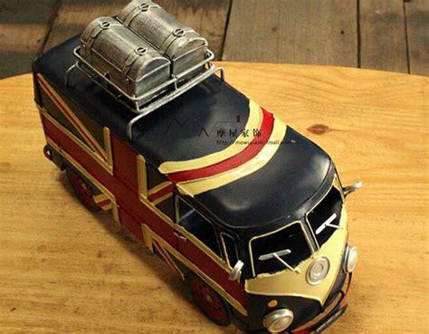black handmade union jack tinplate vw bus model nbt ezbustoyscom