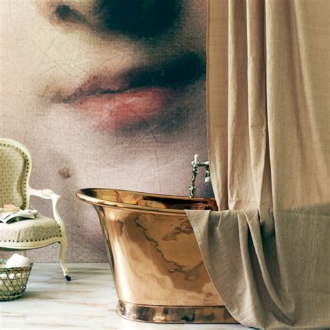 bathroom wall murals uk statement bathroom with wall mural and copper roll top