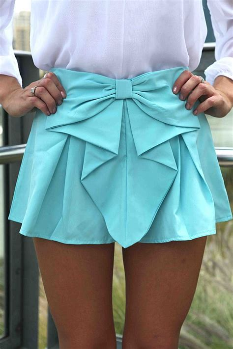 Hq 13108 Bow Geometric Dress teal turquoise shorts teal bow front shorts with ustrendy