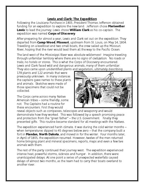 free printable lesson plans on lewis and clark reading comprehension america in the 1800s the lewis