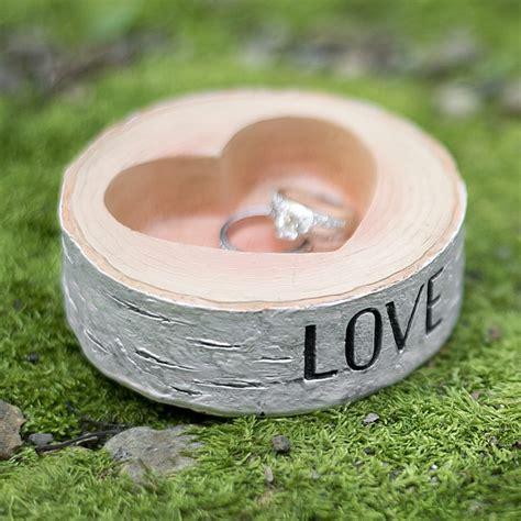 Wedding Ring Holder Design by Rustic Resin Birch Log Wedding Ring Holder