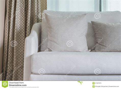 pillows for white couch classic white sofa with pillows stock photo image 61587879