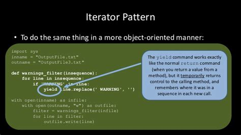 pattern generator in python python the iterator pattern generators