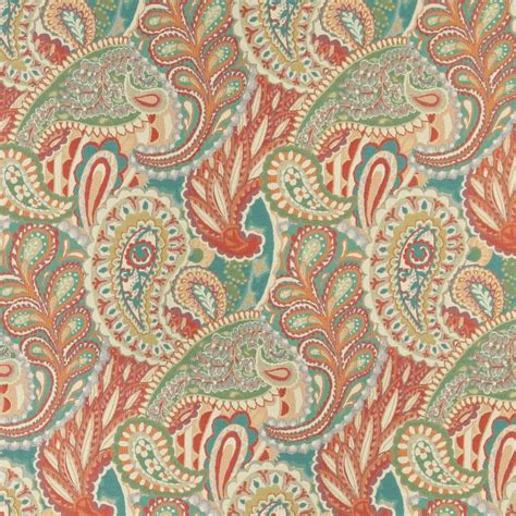Contemporary Drapery Fabric Orange Teal And Green Paisley Contemporary Upholstery
