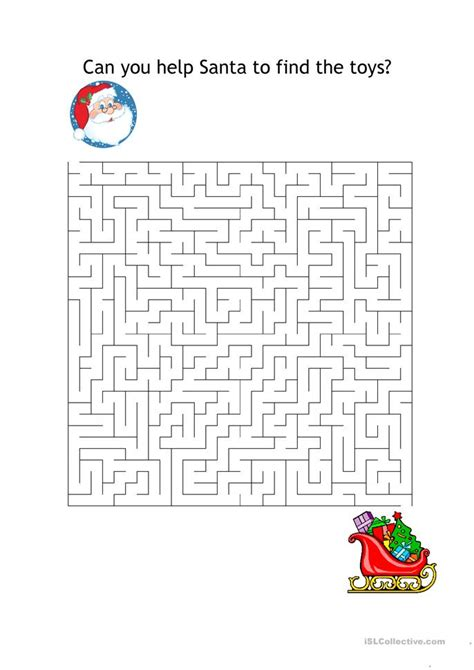 printable mazes for elementary school xmas maze worksheet free esl printable worksheets made