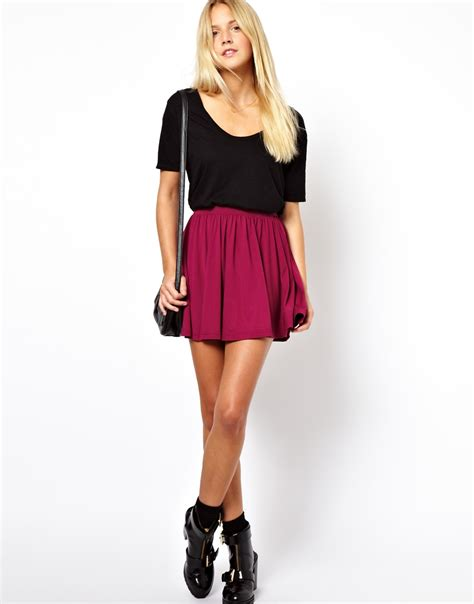 pepe skirt in skater style in pink berry lyst