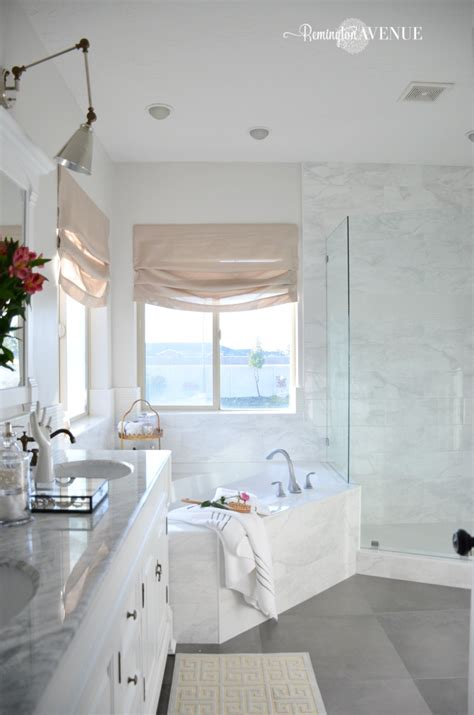 White Master Bathrooms by One Room Challenge Bright White Master Bathroom