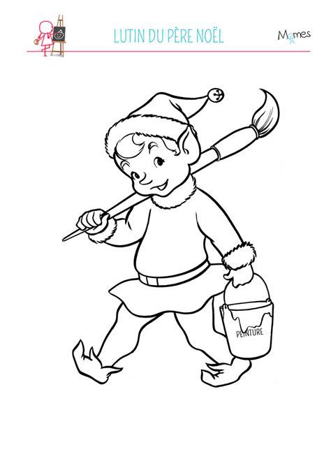 Coloriage lutin du Père Noël - Momes.net