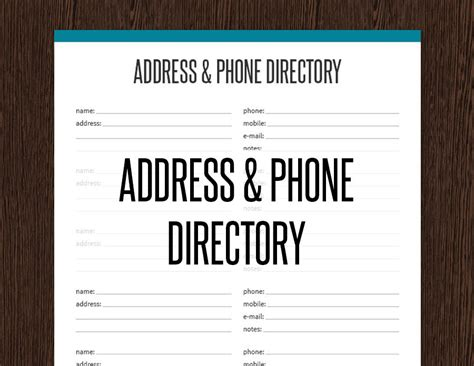 Address Directory Address Phone Directory Fillable Printable