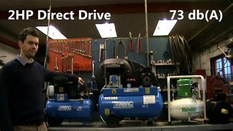 air compressor sound level noise comparison between belt direct drive and silent