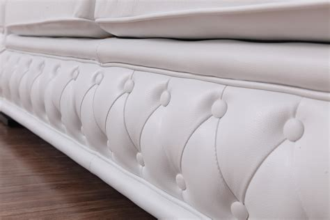 leather sofa with buttons divani casa dublin modern white leather sofa set w buttons