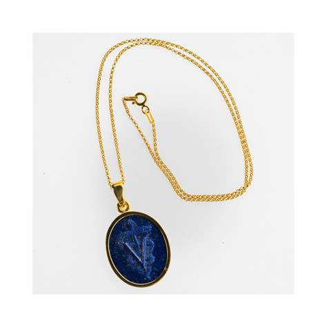 veterinary caduceus pendant carved lapis gold plated