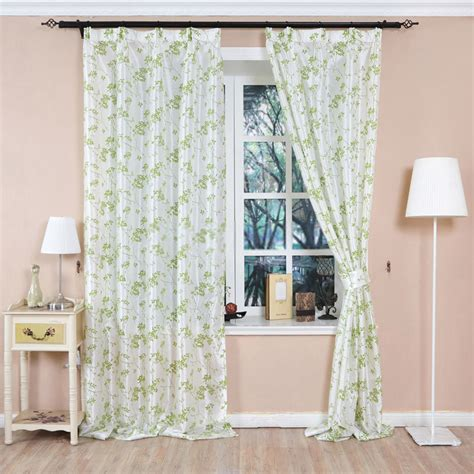 green flower curtains polyester material green flower curtains of country style