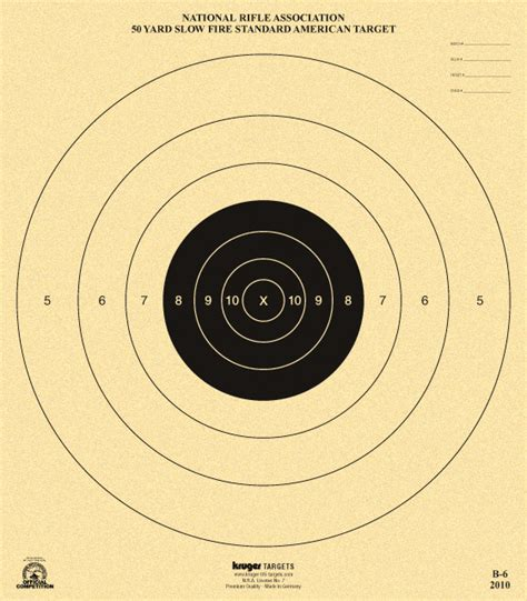 printable competition targets 50 yard slow fire standard american target nra b 6