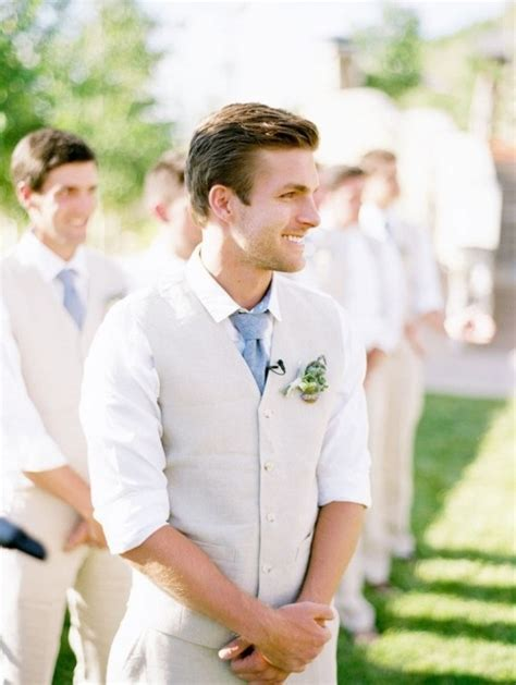 stylish and neat groom summer wedding attire