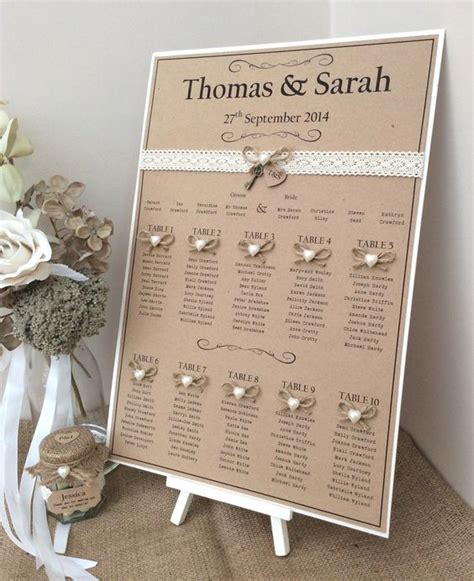rustic shabby chic a3 wedding table seating plan wedding