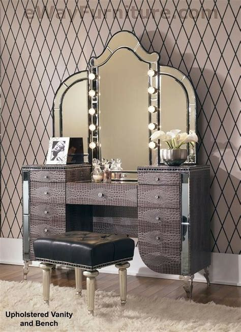 upholstered vanity mirror bench crystal accents