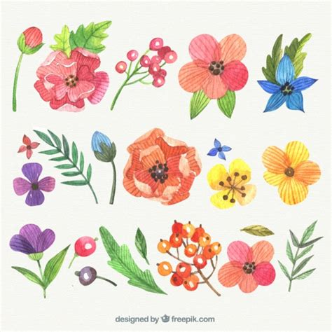 new year flower painting variety of painted flowers vector free