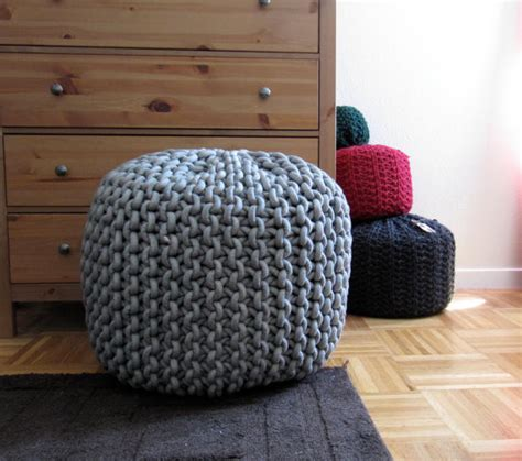 knitted ottoman pattern giant knit rope pouf pattern by mary marie knits modern